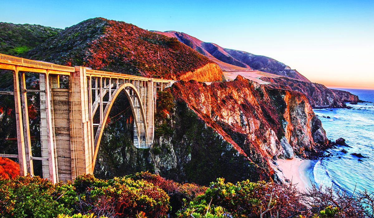 Sunset over Bixby Bridge, Big Sur, California